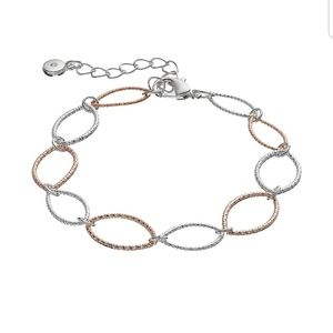 Two-Tone Textured Marquis Link Bracelet